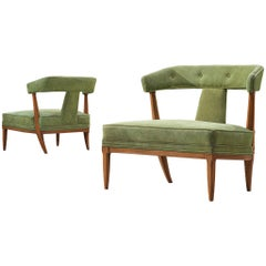 Pair of Italian Wide Seat Easy Chairs in Green Upholstery