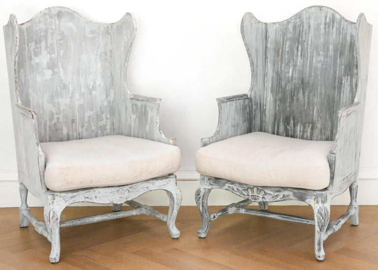 Louis XV Pair of Italian Wingback Armchairs For Sale