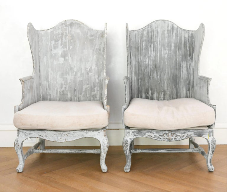 Pair of Italian Wingback Armchairs For Sale 1