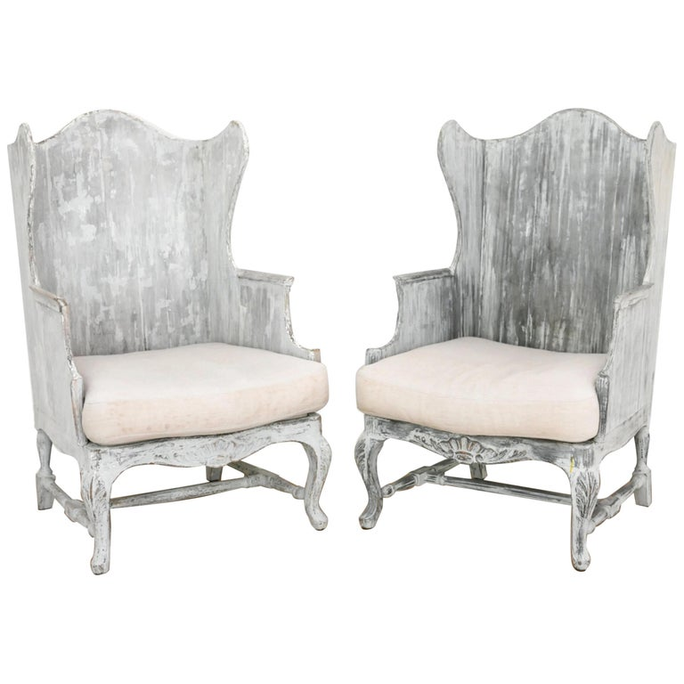 Pair of Italian Wingback Armchairs For Sale