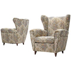 Pair of Italian Wingback Chairs in Floral Upholstery