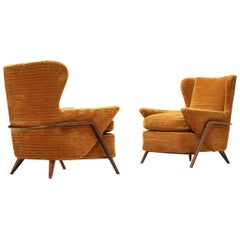 Pair of Italian Wingback Chairs Textured Upholstery