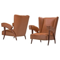 Pair of Italian Wingback Chairs with Characteristic Armrests