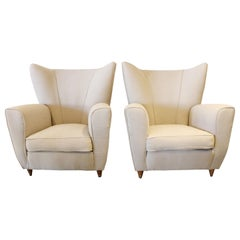 Pair of Italian Wingback Lounge Chairs, 1950s