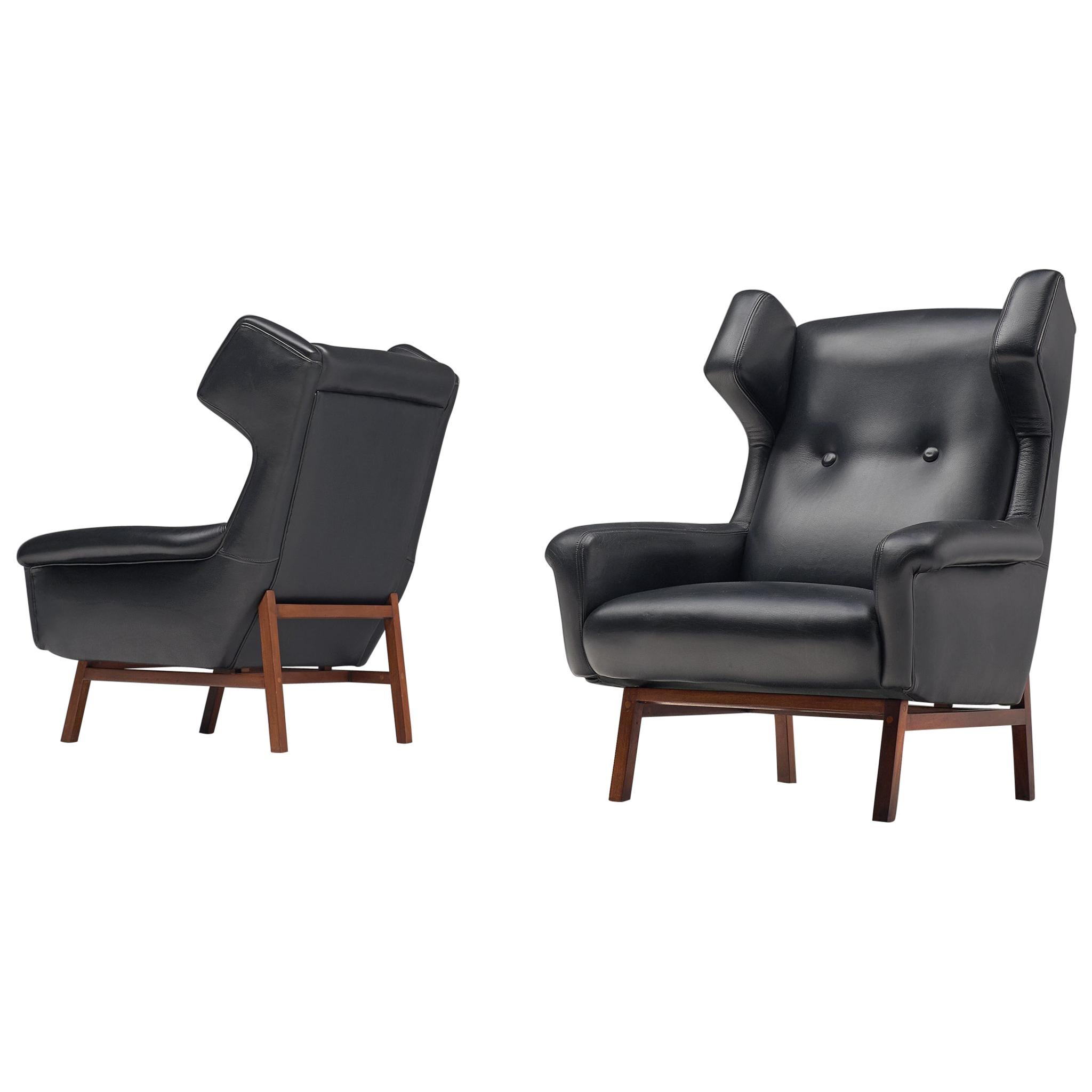 Pair of Italian Wingback Lounge Chairs in Black Leather