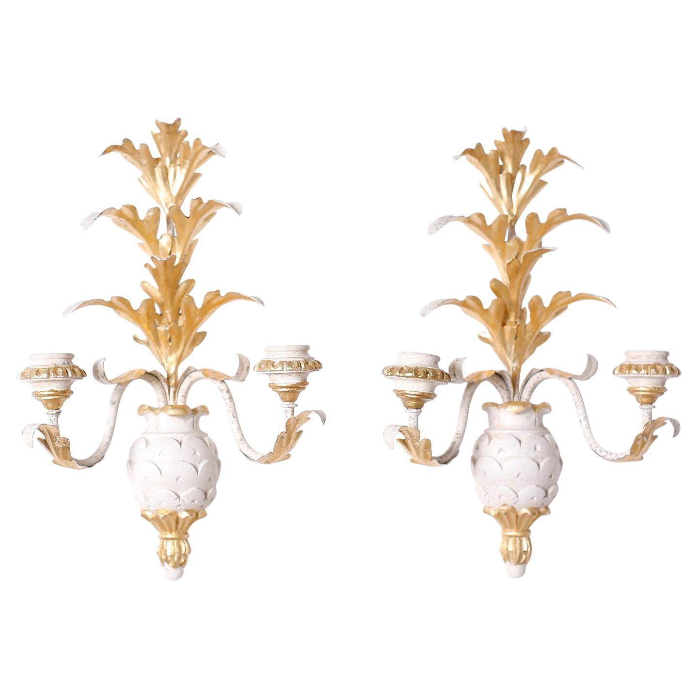 Pair of Italian Wood and Gilt Metal Pineapple Wall Sconces