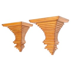 Pair of Italian Wood Architectural Wall Brackets