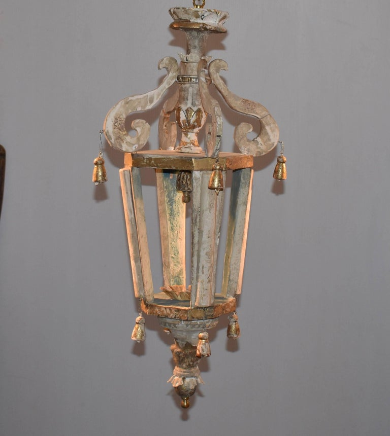 Pair of Italian Wood Church Lanterns  In Good Condition For Sale In Encinitas, CA