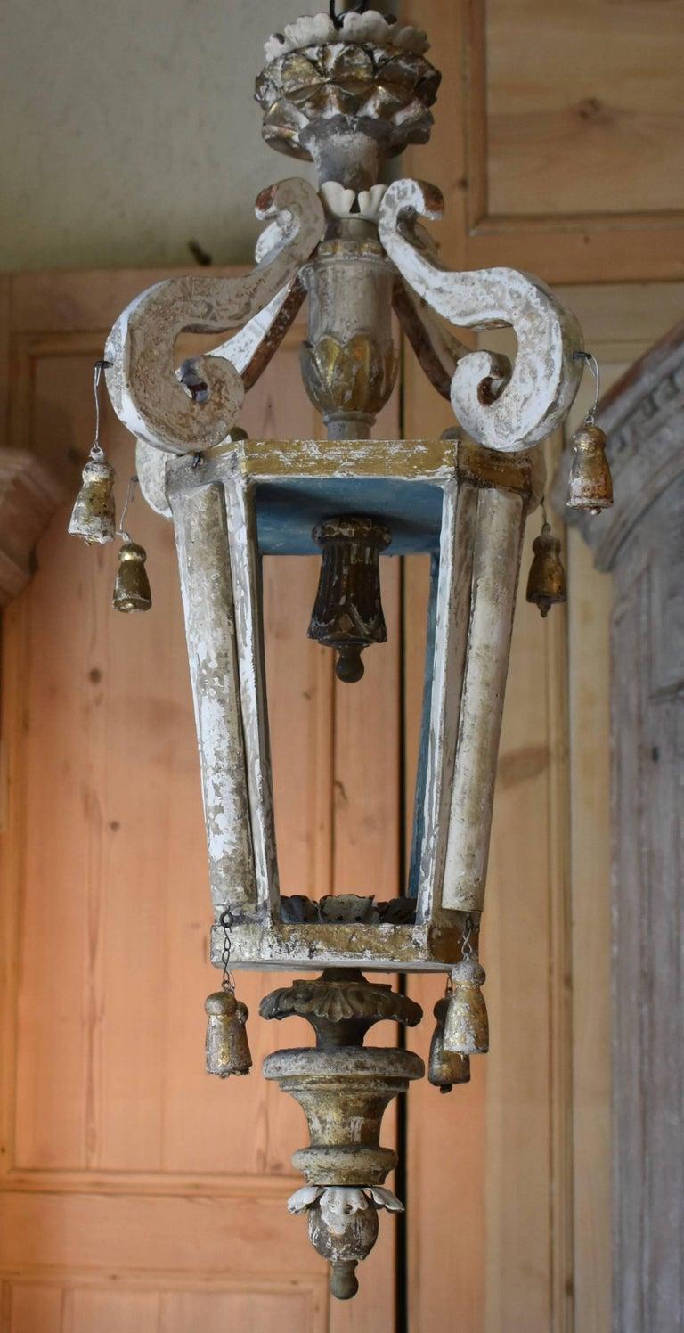 Pair of Italian Wood Church Lanterns  For Sale 4