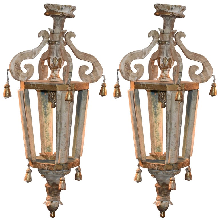 Pair of Italian Wood Church Lanterns  For Sale