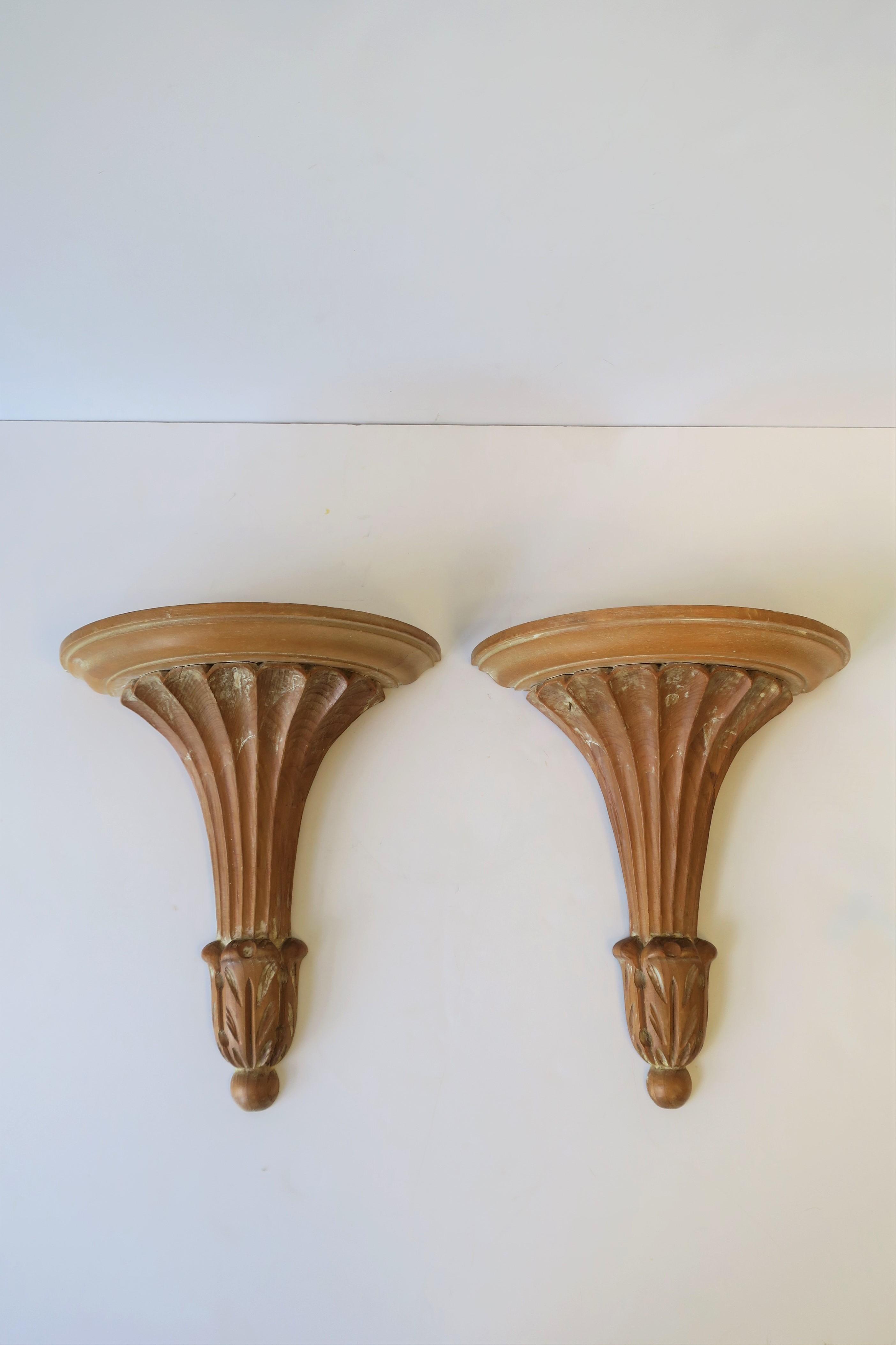 Pair Of Italian Wood Wall Shelf Brackets