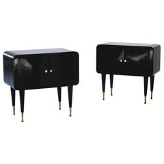 Pair of Italian Wooden Black Brass and Glass Bedside Tables, 1950s