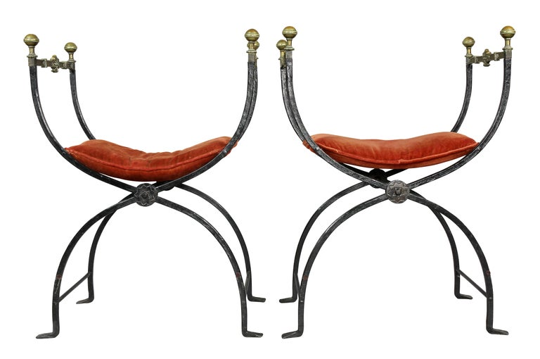 Pair of Italian Wrought Iron and Bronze Curule Chairs 5