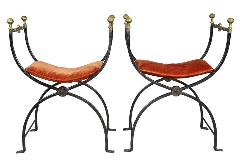 Renaissance Pair of Italian Wrought Iron and Bronze Curule Chairs
