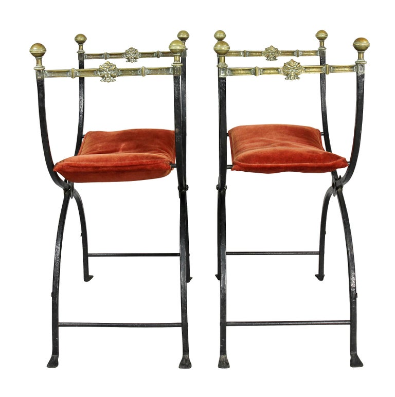 Pair of Italian Wrought Iron and Bronze Curule Chairs 2