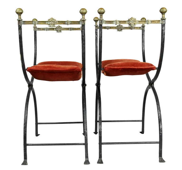 Pair of Italian Wrought Iron and Bronze Curule Chairs 4