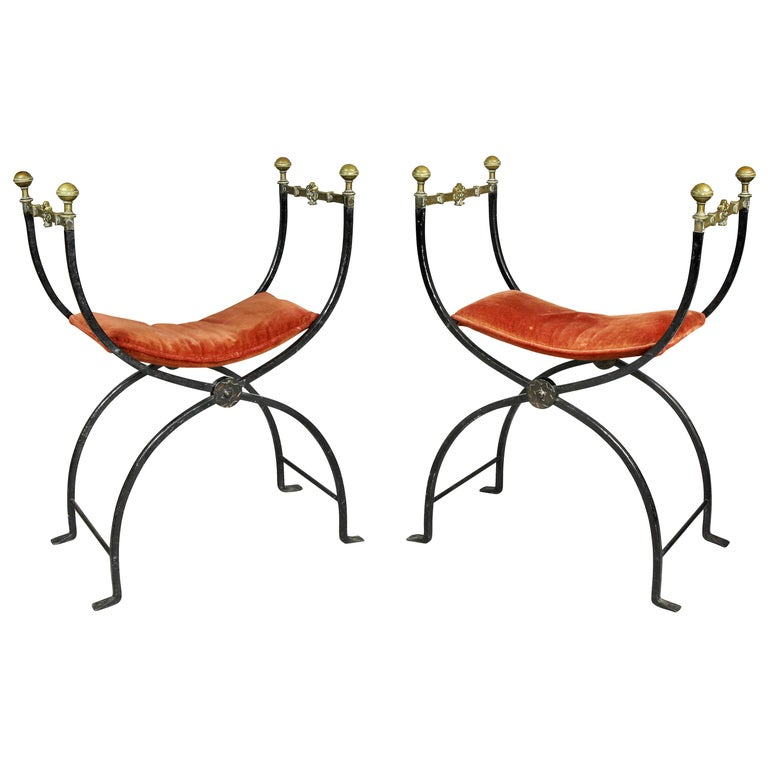 Pair of Italian Wrought Iron and Bronze Curule Chairs
