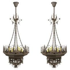 Pair of Italian Wrought Iron Chandeliers, 6 Lights