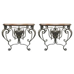 Pair of Italian Wrought Iron Consoles with Leather Tops