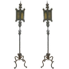 Pair of Italian Wrought Iron Floor Lamps