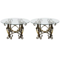 Pair of Italian Wrought Iron Gilt Tables