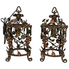 Pair of Italian Wrought Iron Hall Lanterns