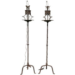 Pair of Italian Wrought Iron Torcheres