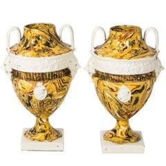 Pair of Italian Yellow Agateware Urns
