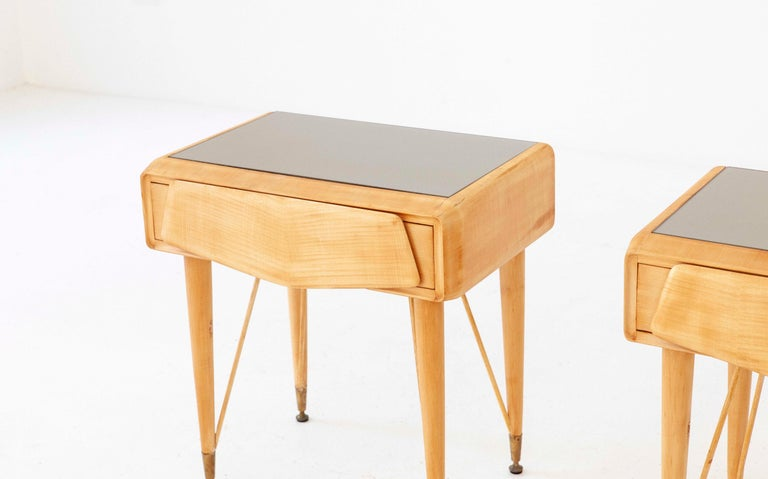 Pair Of Italian Yellow Maple Wood And Grey Glass Bedside
