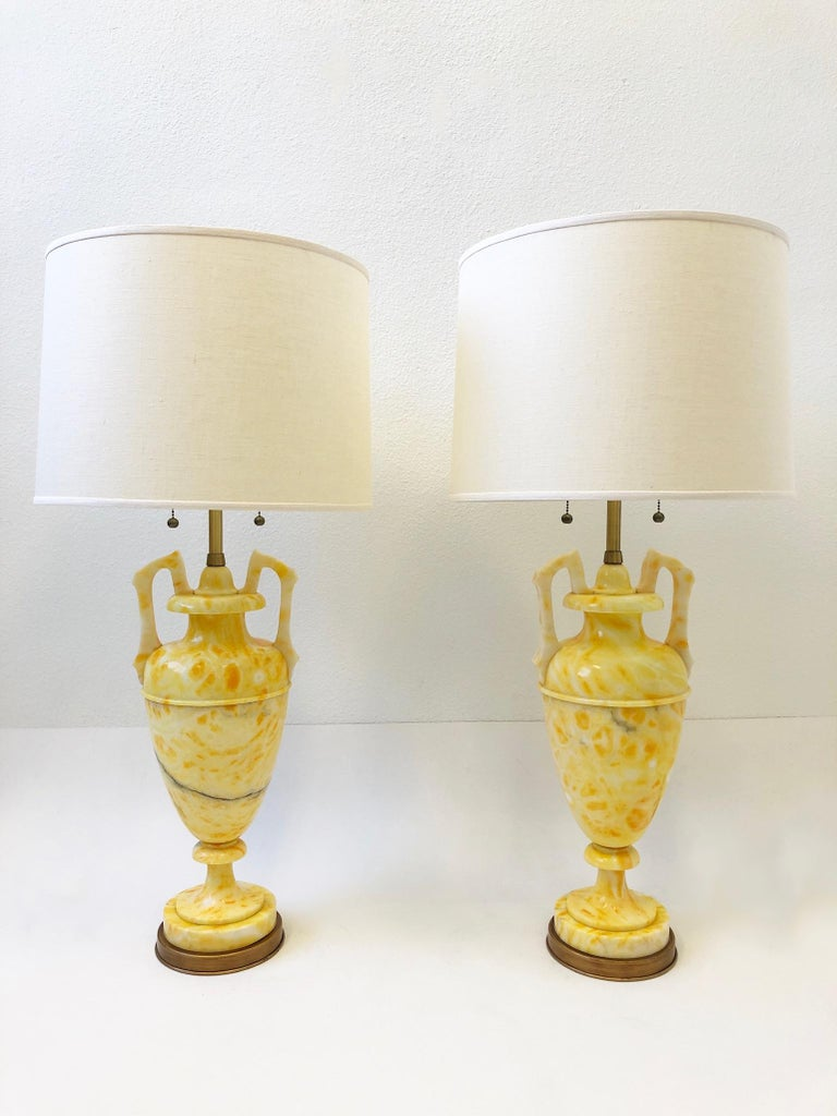 Pair of Italian Yellow Marble and Brass Table Lamps by Marbro Lamp Co. For Sale 5