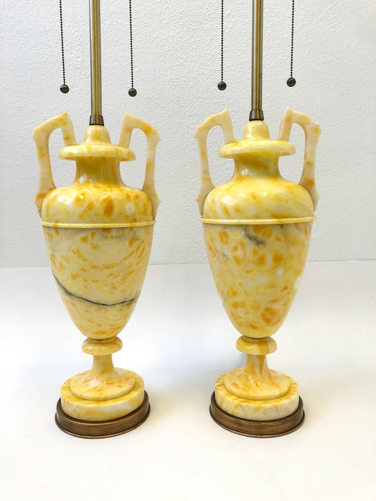 Polished Pair of Italian Yellow Marble and Brass Table Lamps by Marbro Lamp Co. For Sale
