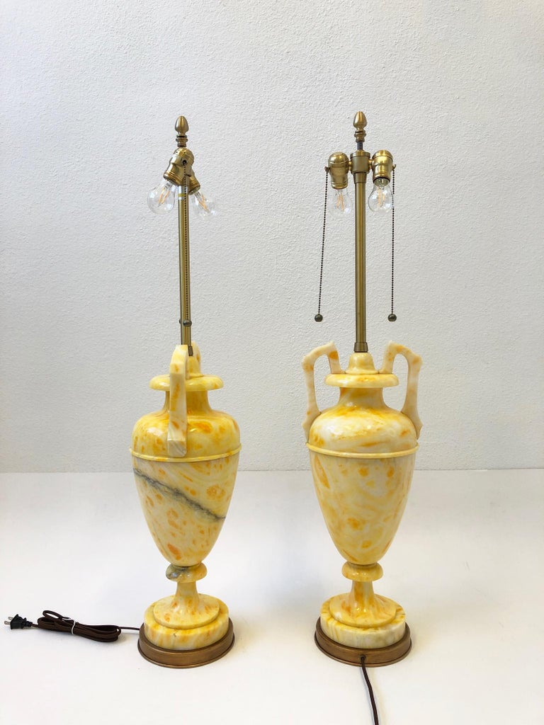 Pair of Italian Yellow Marble and Brass Table Lamps by Marbro Lamp Co. In Good Condition For Sale In Palm Springs, CA