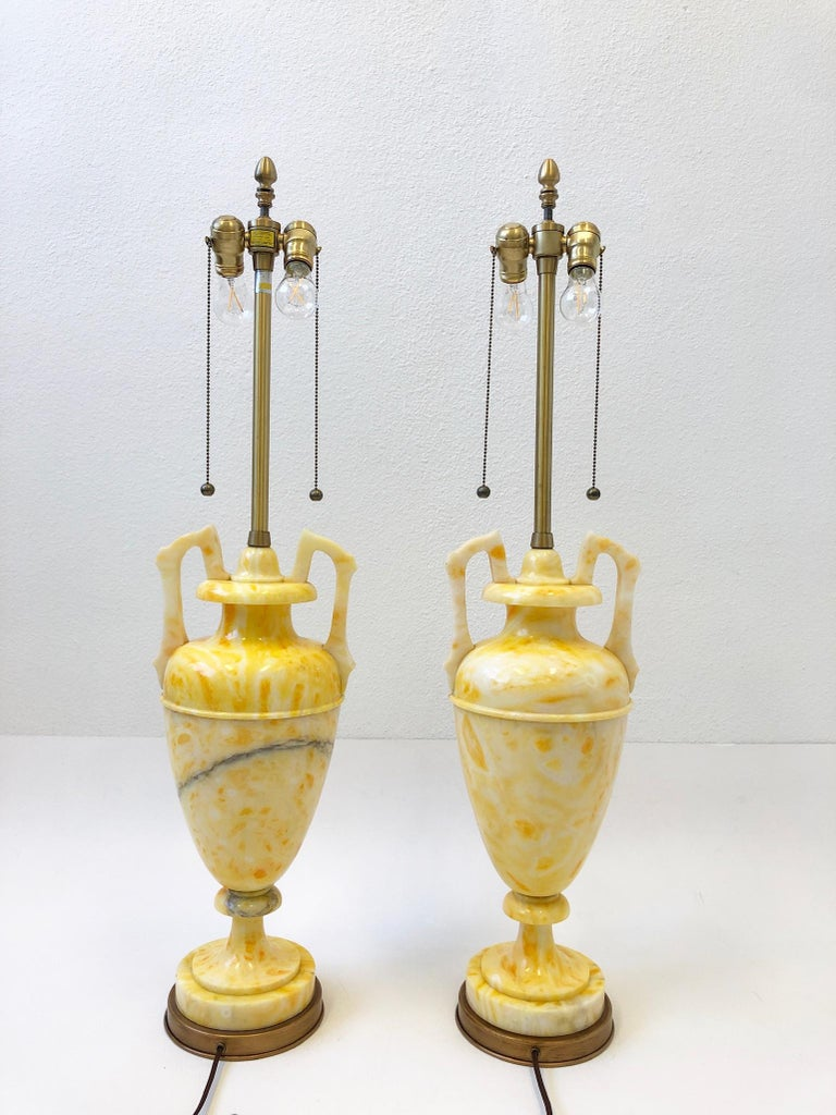 Mid-20th Century Pair of Italian Yellow Marble and Brass Table Lamps by Marbro Lamp Co. For Sale