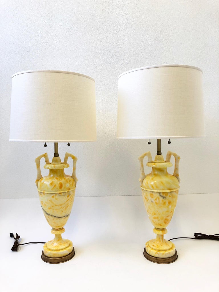 Pair of Italian Yellow Marble and Brass Table Lamps by Marbro Lamp Co. For Sale 1