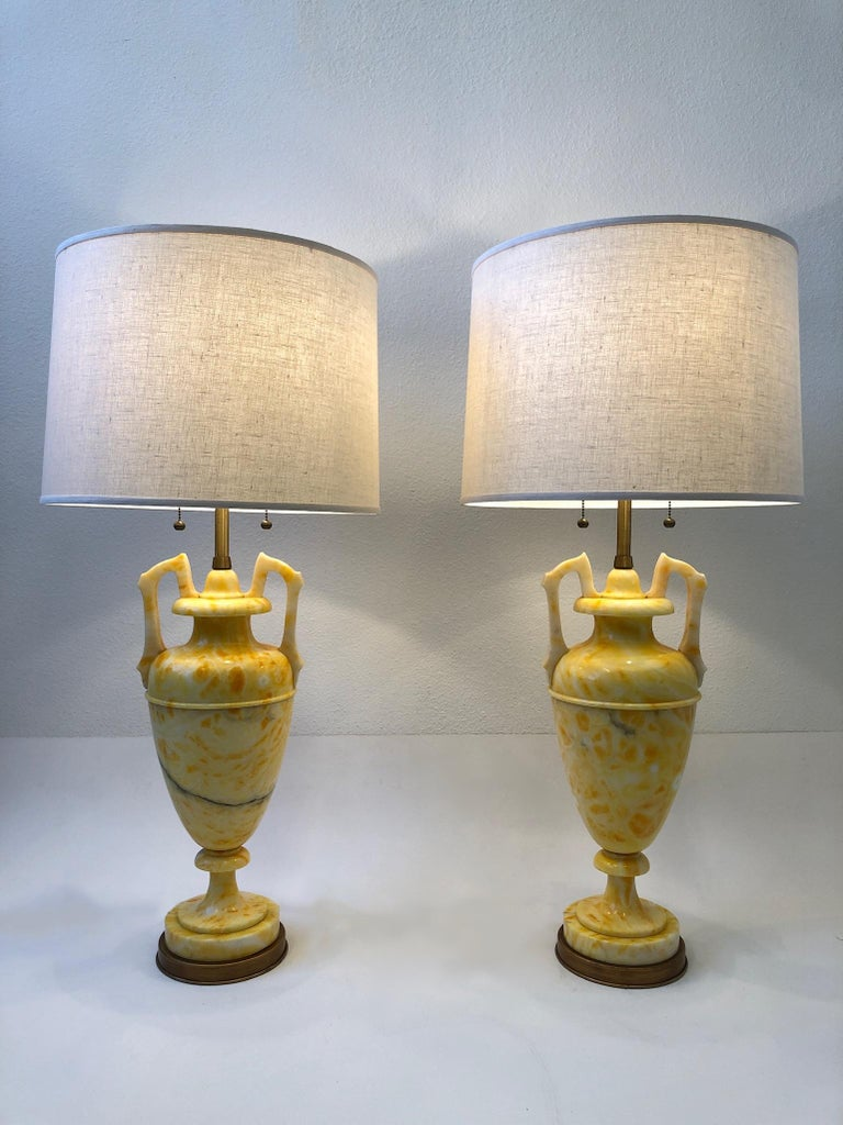 Pair of Italian Yellow Marble and Brass Table Lamps by Marbro Lamp Co. For Sale 2