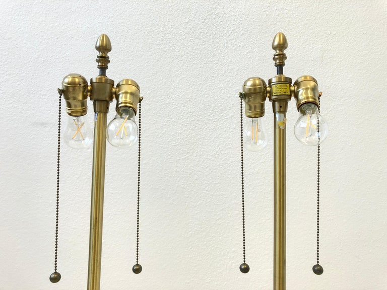 Pair of Italian Yellow Marble and Brass Table Lamps by Marbro Lamp Co. For Sale 3