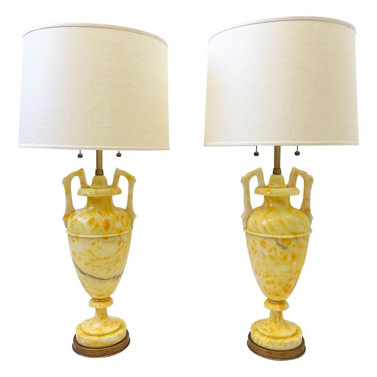 Pair of Italian Yellow Marble and Brass Table Lamps by Marbro Lamp Co. For Sale