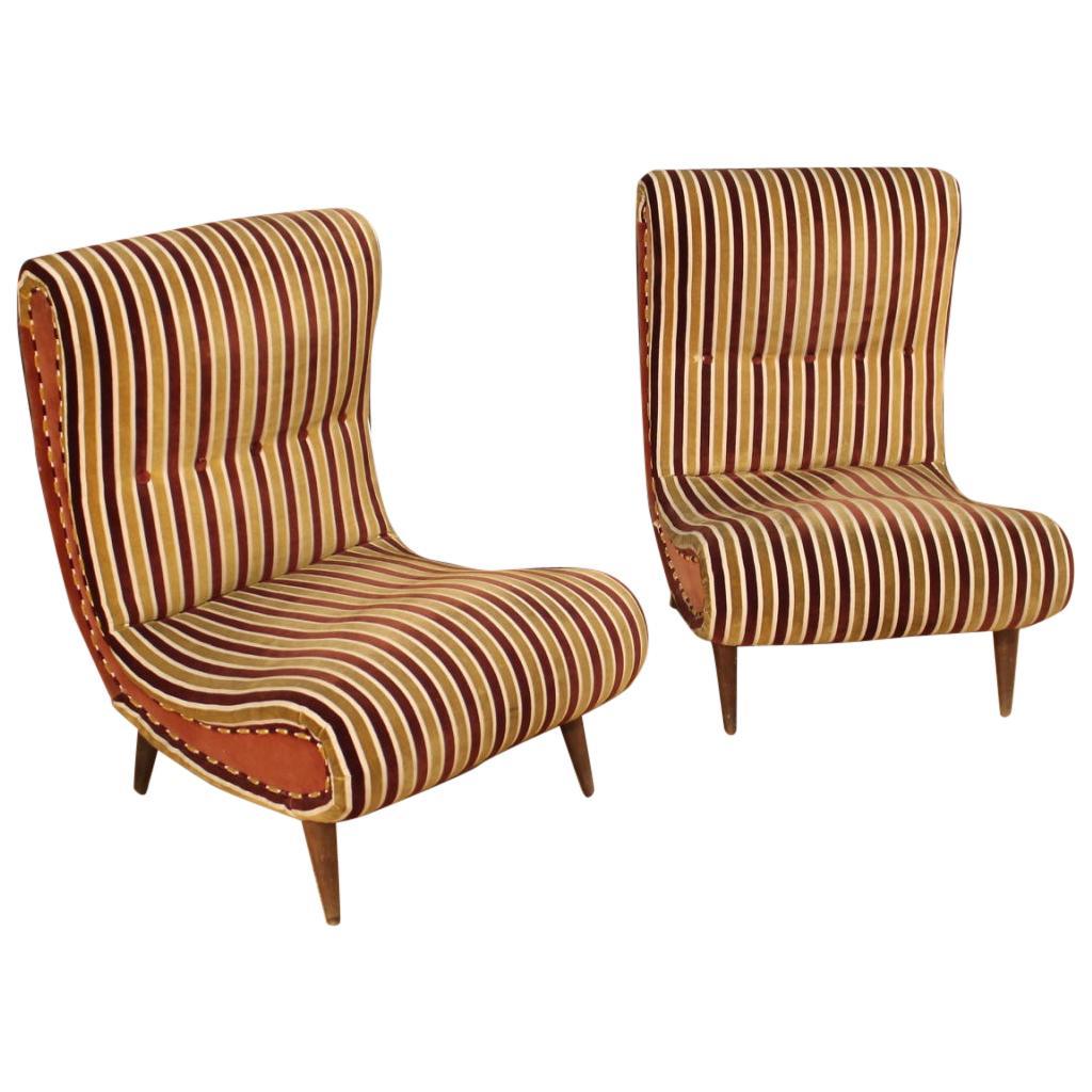 Pair of Italian Zanuso-Style Chairs in Fabric & Velvet, 20th Century