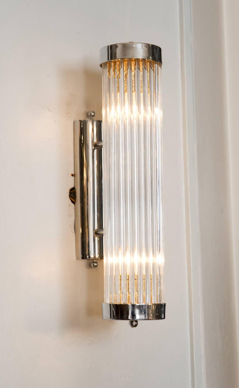 Contemporary Pair of Italian Chrome Arm Wall Lights For Sale