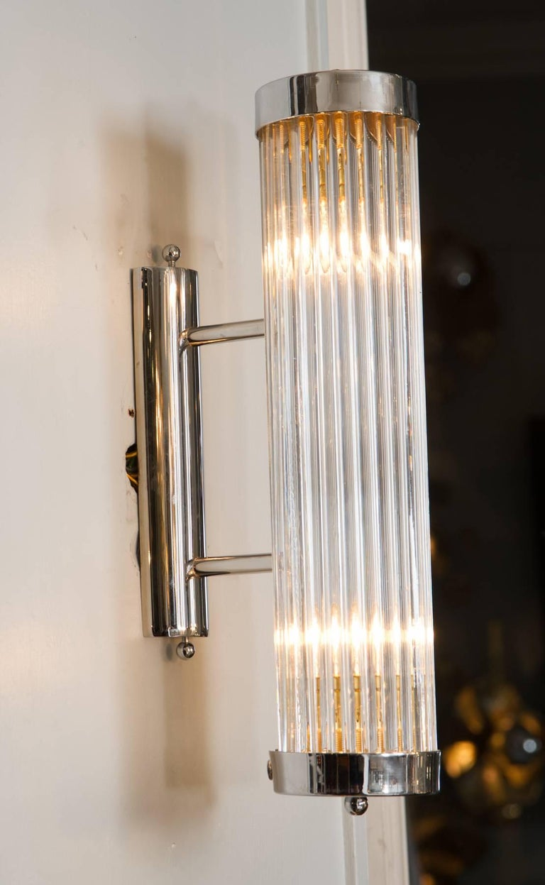 Metal Pair of Italian Chrome Arm Wall Lights For Sale