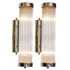 Pair of Italian'Venini' Chrome Arm Wall Lights