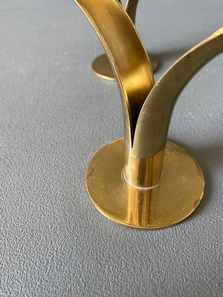Mid-Century Modern Pair of Ivar Ålenius Björk Brass Candleholders for Ystad Metall For Sale