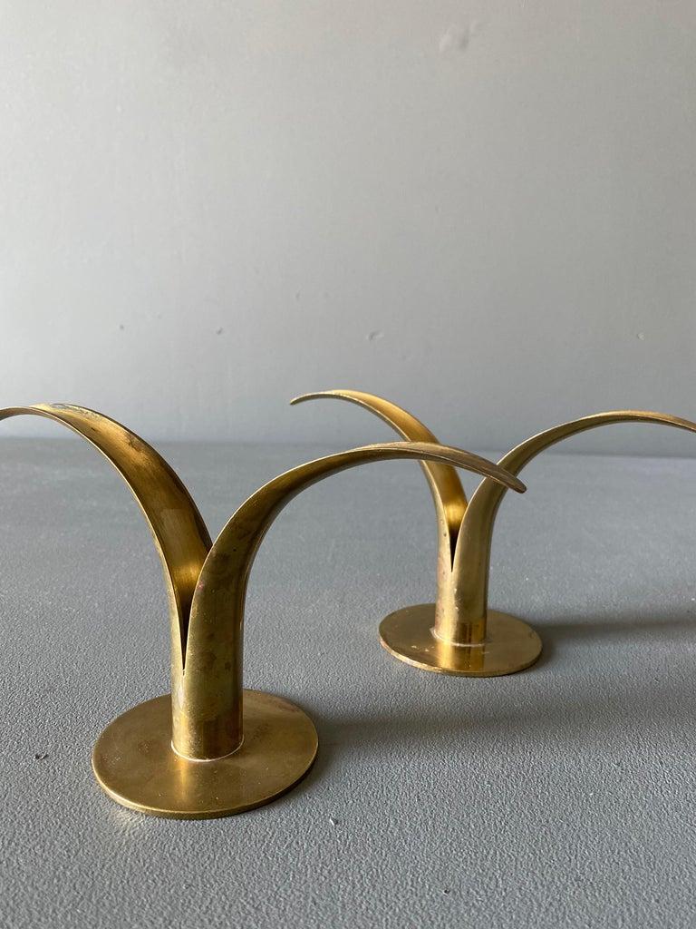 Swedish Pair of Ivar Ålenius Björk Brass Candleholders for Ystad Metall For Sale
