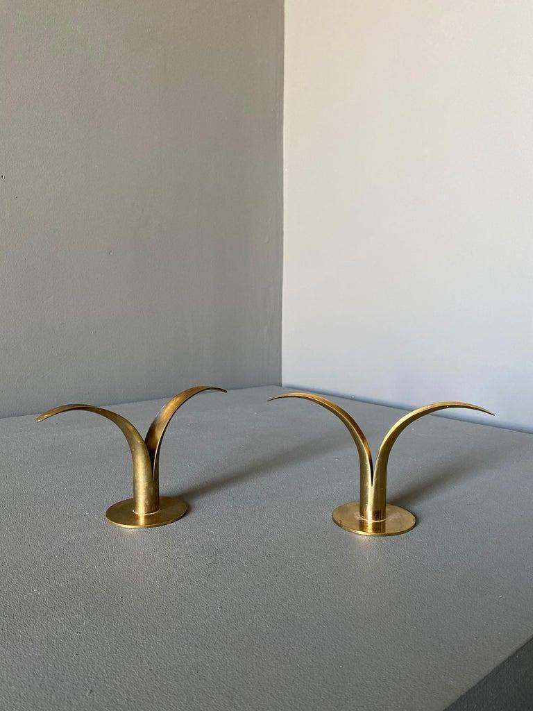 Mid-20th Century Pair of Ivar Ålenius Björk Brass Candleholders for Ystad Metall For Sale