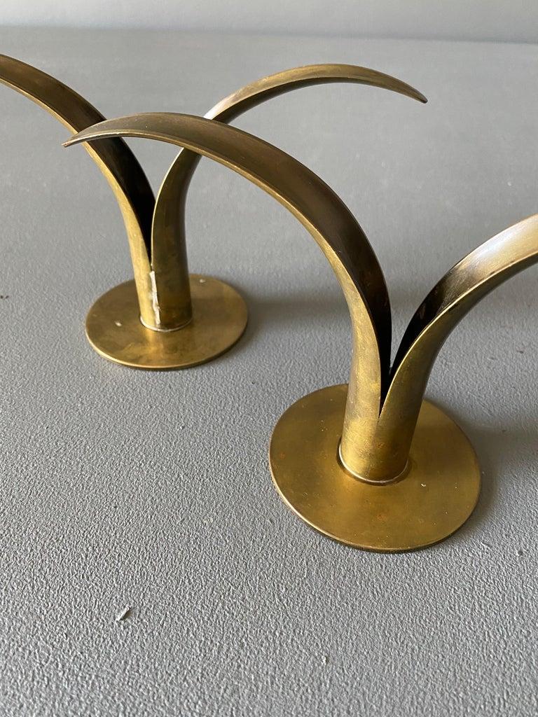 Pair of Ivar Ålenius Björk Brass Candleholders for Ystad Metall For Sale 1