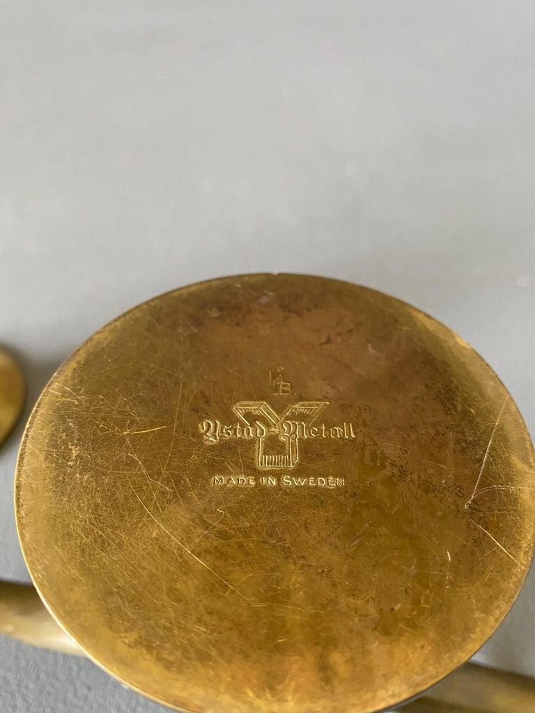 Pair of Ivar Ålenius Björk Brass Candleholders for Ystad Metall For Sale 2