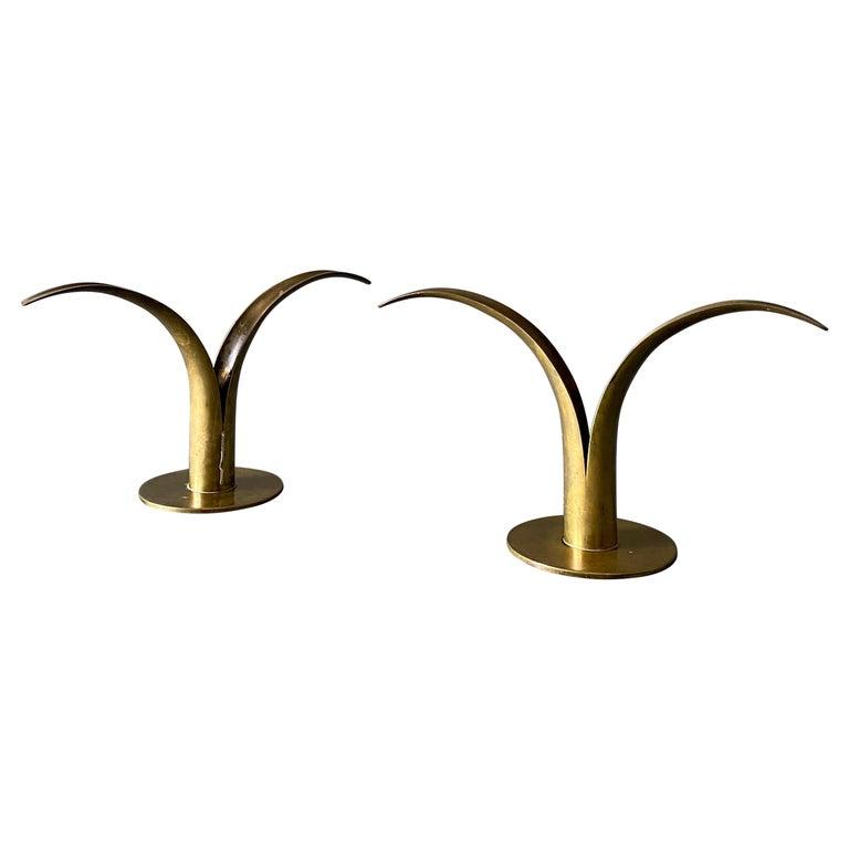 Pair of Ivar Ålenius Björk Brass Candleholders for Ystad Metall For Sale