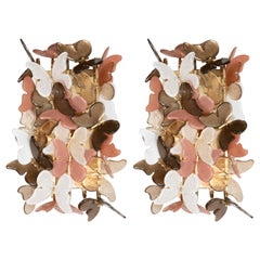 Pair of Ivory, Coral and Bronze Murano Glass Butterfly Sconces, Italy, 2019