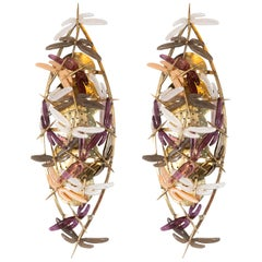 Pair of Ivory, Mauve, Grey and Coral Murano Glass Dragonfly Sconces, Italy, 2019