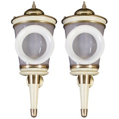 Pair of Ivory Painted and Brass Sconces or Wall Lights Carlo Scarpa Style, 1940